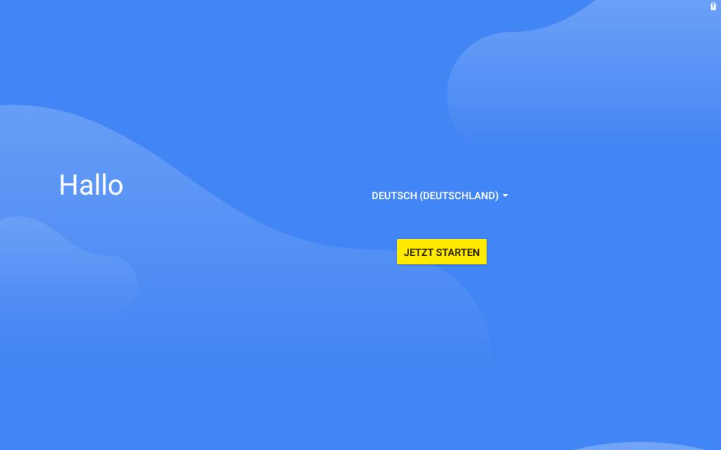 Android Installation, Sprache auswählen