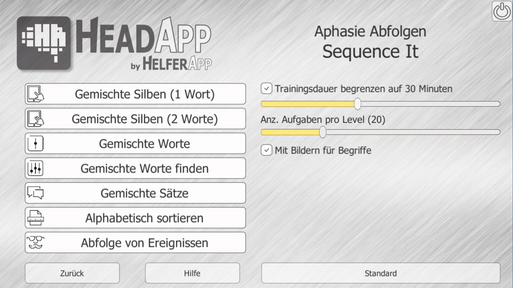 Sequence It - Abfolgen - HeadApp Kognitive Rehabilitation