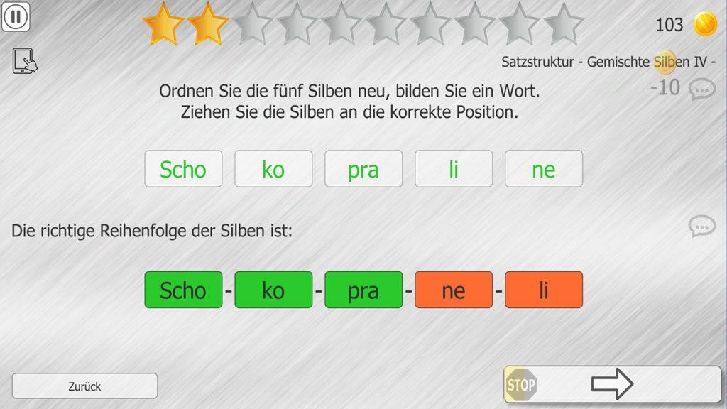 Training Satzstruktur, Aufgabe Gemischte Silben 4