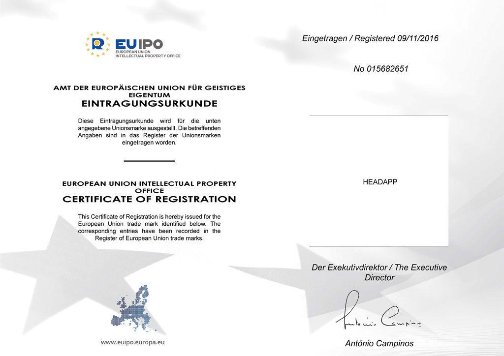 Eintragungsurkunde Marke HEADAPP