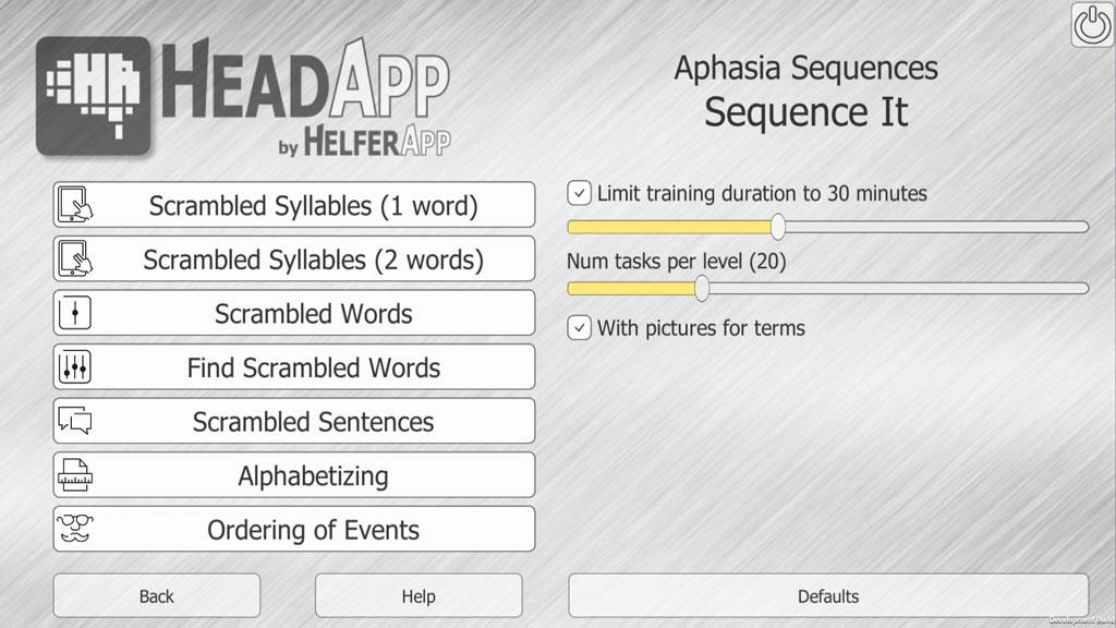sequence it sequences headapp cognitive rehabilitation
