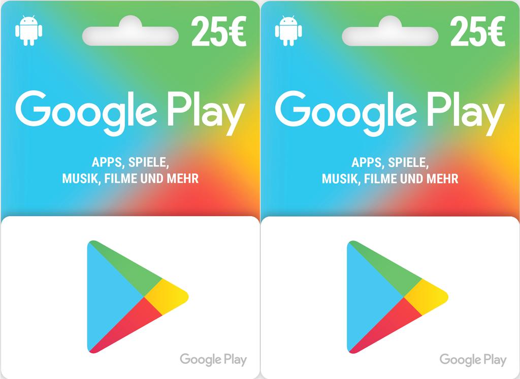 Google Play Geschenkkarten 15€ und 25€