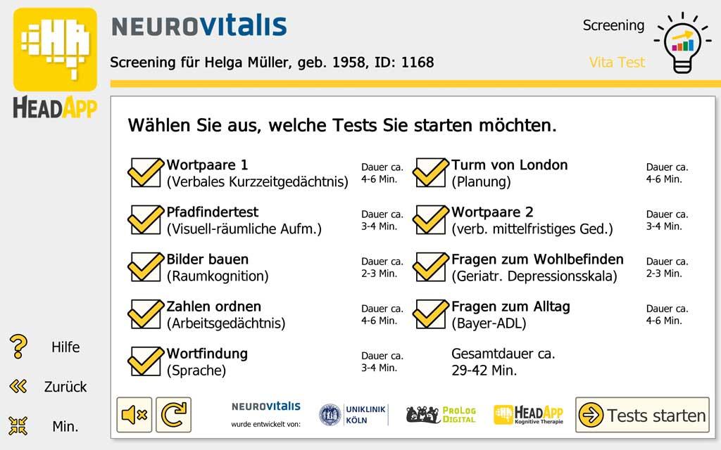 NEUROvitalis Screening - Auswahl Tests