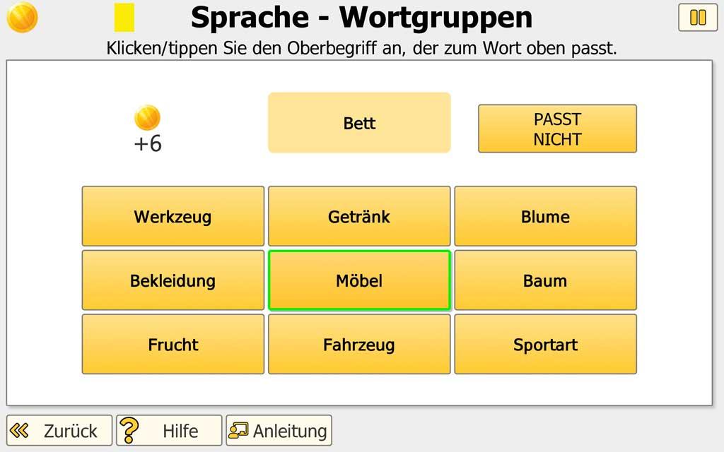 """NEUROvitalis Training """"Sprache"""" - Schwierigkeit Wortgruppen"""