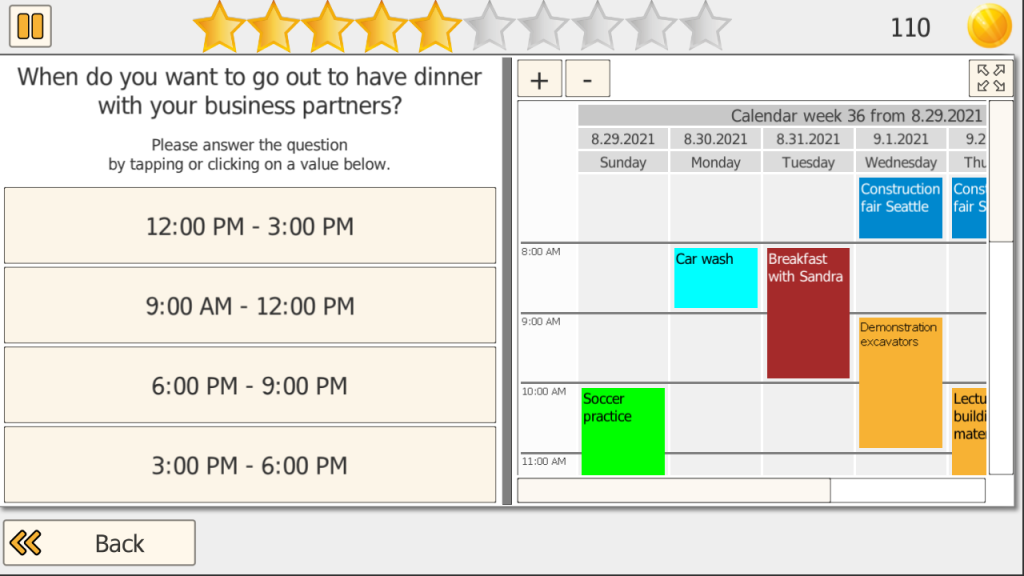 Screenshot Time It Calendar Training