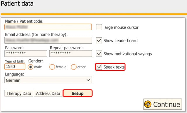 Setup speech output for patients