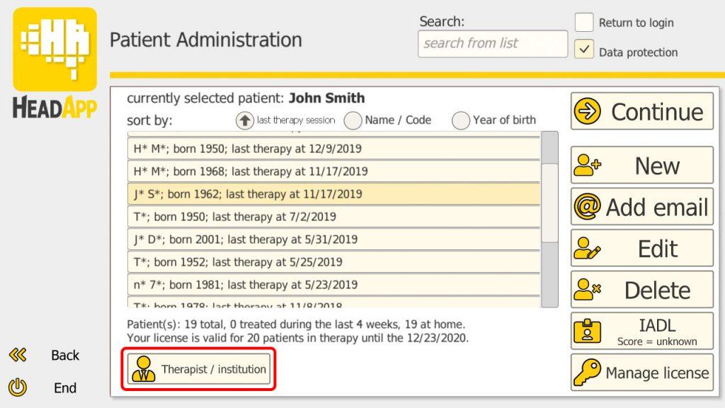 Patient administration window