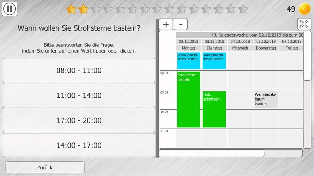 Kalender-Training in HeadApp TimeIt