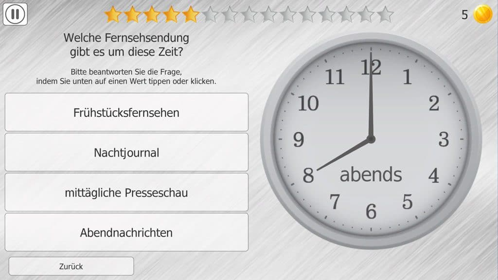 Uhrzeit-Training in HeadApp TimeIt