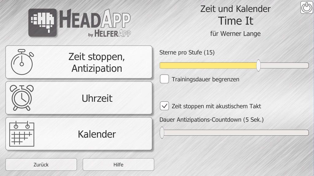 Parameter-Einstellungen im HeadApp TimeIt
